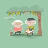Vector Illustration of adult gardener family Royalty Free Stock Photo