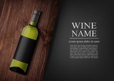 Advertising banner.A realistic bottle of white wine with black label in photorealistic style on wooden dark board,black. Vector illustration.Advertising banner.A Stock Images
