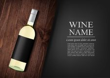 Advertising banner.A realistic bottle of white wine with black label in photorealistic style on wooden dark board,black. Vector illustration.Advertising banner.A Stock Photography