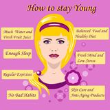 Vector illustration with advice how to stay young Royalty Free Stock Images