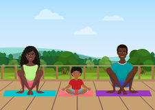 Vector illustration of the african american family meditating on the nature field background. vector illustration