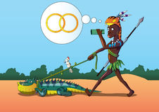 Vector illustration African american man in search of marriage wedding with pet iguana. Eps. Royalty Free Stock Photos