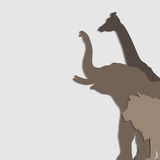 Vector illustration African animals: elephant, giraffe, lion Stock Photography