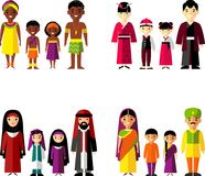 Vector illustration of african, asian, arab, indian family Royalty Free Stock Photo