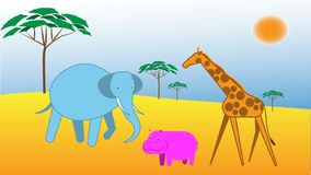Vector illustration with african lanscape and animals stock illustration