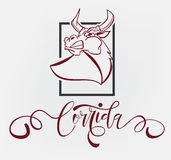 Vector illustration aggressive fighting bull. Royalty Free Stock Image