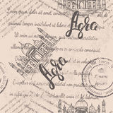 Vector illustration, Agra label with hand drawn the Taj Mahal, lettering Agra, faded text. On beige background Stock Image