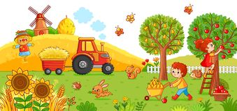 Vector illustration on a agricultural theme. The tractor in the field cleans the hay. Boy and a girl are harvesting Stock Image