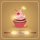 Vector illustration air fruit cream on the cupcake Royalty Free Stock Photo