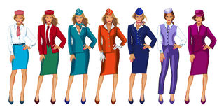 Vector illustration of air hostess in uniform and formal hat. Charming Stewardess Dressed In Uniform With Color Variants. Isolated On White Background Stock Illustration