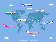 Vector illustration  of air lines Stock Photos