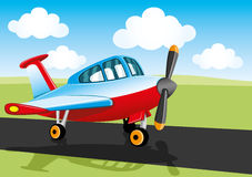 Vector illustration. Aircraft. Vector illustration. Aircraft on the runway Stock Image
