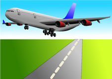 Vector illustration of airplane or airbus plane. That take off from the runway Stock Photo