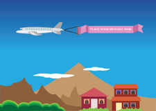 Vector illustration of a airplane with banner. Royalty Free Stock Photography