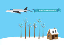 Vector illustration of a airplane with banner. Royalty Free Stock Image