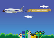 Vector illustration of a airplane with banner. Stock Photography