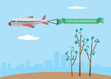 Vector illustration of a airplane with banner. Stock Photos