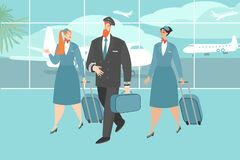 Vector illustration of an airplane crew at the airport royalty free illustration