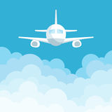 Vector illustration of airplane flying above the clouds. Vector illustration Royalty Free Stock Image