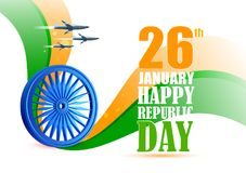Airplane flying over Ashoka Chakra on tricolor background for 26th January Happy Republic Day of India. Vector illustration of airplane flying over Ashoka Chakra Royalty Free Stock Images