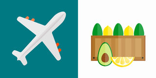 Vector illustration of airplane transport shipping box. Vector illustration of simple vehicle and transport related icons for your design or application. Travel Stock Photography