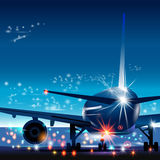 Vector illustration of airport with plane. Plane in airport. Plane ready to takeoff Stock Photography