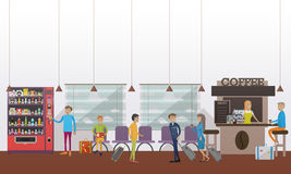 Vector illustration of airport waiting hall, cafe, passengers, flat style. Stock Images