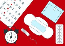 Vector illustration of alarm clock and a blood period calendar. Menstruation period pain protection, sanitary pads. Feminine hygie vector illustration