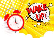 Vector illustration of alarm clock ringing, wake up text on the background. Bright cartoon pop art concept in retro vector illustration