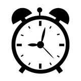 Vector illustration of alarm clock. In black isolated on the white background Royalty Free Stock Image