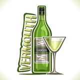 Vector illustration of alcohol drink dry Vermouth. Poster with green bottle of premium italian herbal booze, full martini glass, original typeface for word Royalty Free Stock Image