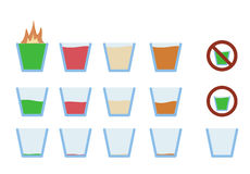 Vector illustration of alcohol shot drink in glass. Vector illustration of flat icon design alcohol shot drink in glass phase from full to empty Stock Images