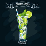 Vector illustration. Alcoholic cocktail Mojito. Vector illustration of fresh and juicy drink. Alcoholic cocktail mohito. Classic mojito royalty free illustration