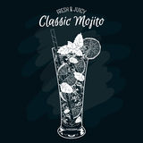 Vector illustration. Alcoholic cocktail Mojito. Royalty Free Stock Photography