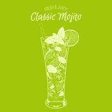 Vector illustration. Alcoholic cocktail Mojito. Stock Photos
