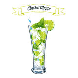 Vector illustration. Alcoholic cocktail Mojito. Stock Images