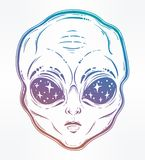 Vector illustration with a Alien head with starry eyes. Vector illustration with a Alien head with starry eyes with space inside. Used for sticker, poster Stock Photos