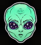 Vector illustration with a Alien head with starry eyes. Vector illustration with a Alien head with starry eyes with space inside. Used for sticker, poster Royalty Free Stock Image