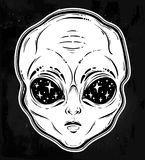 Vector illustration with a Alien head with starry eyes. Vector illustration with a Alien head with starry eyes with space inside. Used for sticker, poster Stock Photo