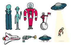Space set / Aliens and astronauts Royalty Free Stock Photos