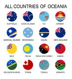 Vector illustration all flags of Oceania. All countries of Oceania, round shape flags. Political background Stock Photos