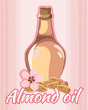 Vector illustration of almond oil bottle Stock Photos