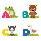 A vector illustration of alphabet animals Royalty Free Stock Photography