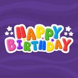 Vector illustration alphabet. Cartoon letters. Happy Birthday. Violet background stock illustration