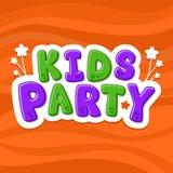 Vector illustration alphabet. Cartoon letters. Kids Party. NOrange background stock illustration