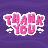 Vector illustration alphabet. Cartoon letters. Thank you. Violet background vector illustration
