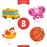 Vector Illustration Of Alphabet Letter B And Pictures. Eps 10 royalty free illustration