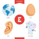Vector Illustration Of Alphabet Letter E And Pictures. Eps 10 royalty free illustration