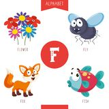 Vector Illustration Of Alphabet Letter F And Pictures. Eps 10 royalty free illustration