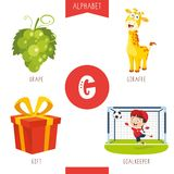 Vector Illustration Of Alphabet Letter G And Pictures. Eps 10 stock illustration